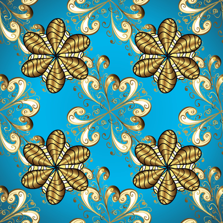 Illustration in yellow and blue colors. Cute Look. Luxury Geometric Pattern. Seamless. In vintage style. Vector illustration.