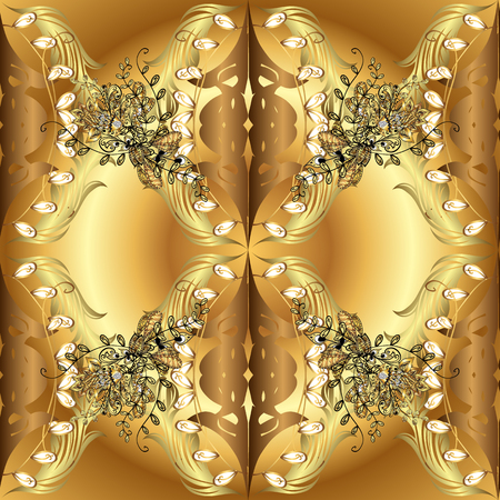 Vector seamless pattern on brown and yellow colors with golden elements. Damask seamless pattern for design.