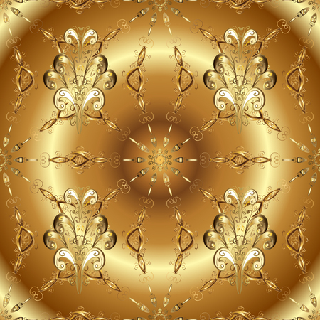 Traditional classic golden pattern. Seamless oriental ornament in the style of baroque. Golden pattern on beige and brown colors with golden elements. Vector oriental ornament.