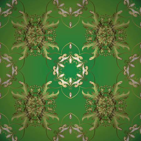Seamless pattern for web, textile and wallpapers. Vintage neutral, green and yellow geometric ornament. Vector illustration. In simple style.