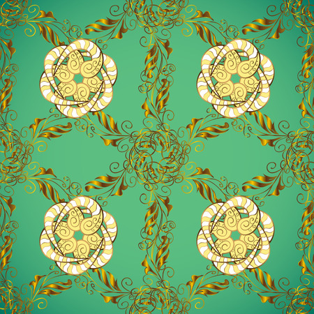 Home decor. Illustration on green, yellow and brown colors. Paisley print hand drawn elements. Seamless pattern with fantasy flowers, natural wallpaper, floral decoration curl illustration. Vector.