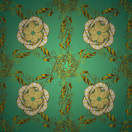 Paisley watercolor floral pattern tile with flowers, flores, leaves. Illustration in green, yellow colors. Vector. Oriental traditional hand painted seamless border for design. Abstract background. Illustration