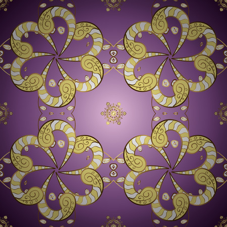 Golden snowflakes on purple and yellow colors. Symbol holiday, New Year celebration vector golden pattern. Winter snow texture sketch. Christmas golden snowflake seamless pattern.