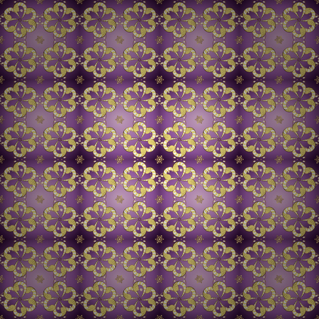 Vector seamless pattern on yellow and purple colors with golden elements. Damask seamless pattern for design.