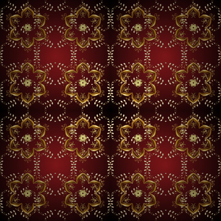 Oriental traditional hand painted seamless border for design. Paisley watercolor floral pattern tile with flowers, flores, leaves. Illustration in red, brown colors. Abstract background. Vector.