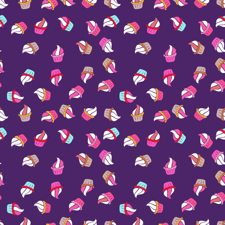 Seamless pattern with cakes. Vector illustration. Nice birthday background on white, violet and pink. Wrapping paper.