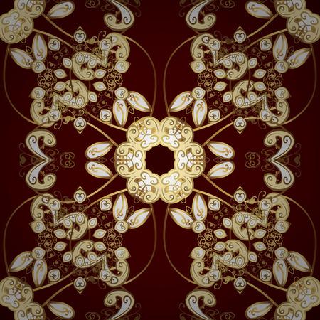 Flower seamless background. Sketch, doodle, scribble. Flourish ornamental garden. Endless. Illustration in beige, brown and red colors. Vector illustration. Floral pattern.
