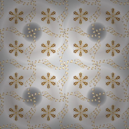 Vector traditional orient ornament. Seamless classic golden pattern. Golden pattern on gray and neutral colors with golden elements.