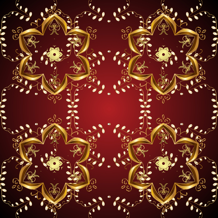 Cute textured curls. Vector sketch. Oriental style arabesques. Brilliant lace, stylized flowers. Seamless pattern. Pictures in black, brown and red colors. Openwork weaving delicate, nice background.