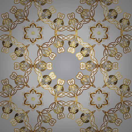 Traditional classic golden vector pattern on gray and white colors with golden elements. Seamless oriental ornament in the style of baroque.