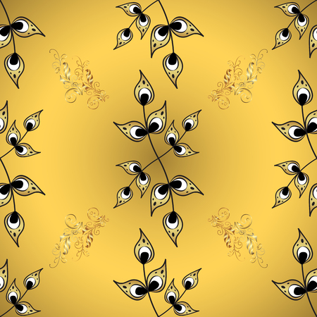 Vector illustration. Scribble, sketch, doodle on yellow and gray colors. In simple style. Vintage background. Hand drawn wallpaper seamless pattern.