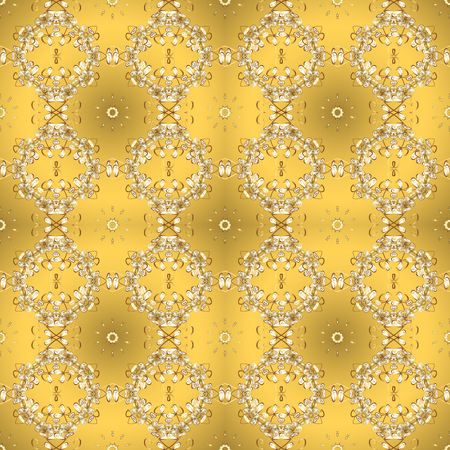 Suitable for fabric, paper, packaging. Fully editable. Vector pattern on yellow and beige colors. Seamless. For any design projects.