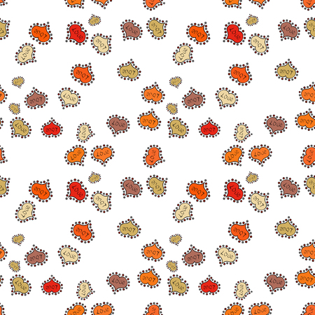 Seamless Love pattern with hand drawn doodle hearts. Elements on white, orange and beige colors. Valentines Day design. Illustration