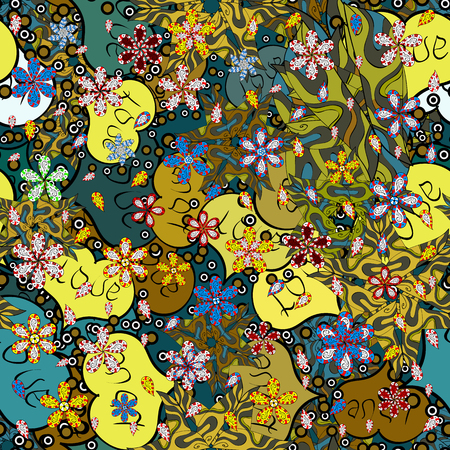 Modello senza cuciture Elegante ornamento decorativo per stampa di moda, album, carta da regalo, schizzo. Immagini su un colore verde, blu e giallo Illustrazione vettoriale.