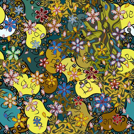 Nahtloses Muster Elegante dekorative Verzierung für Modedruck, Sammelalbum, Geschenkpapier, Skizze. Bilder auf einer grünen, blauen und gelben Farben-Vektorillustration.