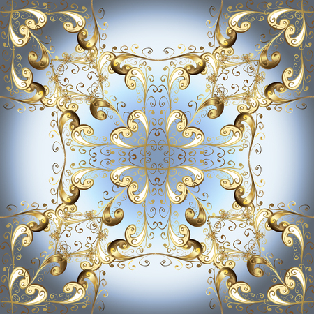 Golden element on neutral, gray and blue colors. Vintage baroque floral seamless pattern in gold over neutral, gray and blue. Ornate vector decoration. Luxury, royal and Victorian concept.
