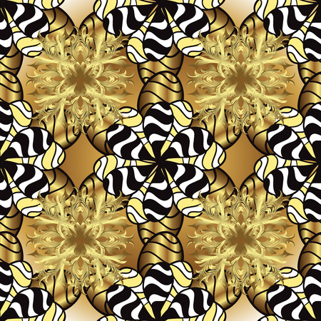 Seamless pattern Sketch cute background. Doodles yellow and black on colors. Nice pattern for wrapping paper vector. Ilustração