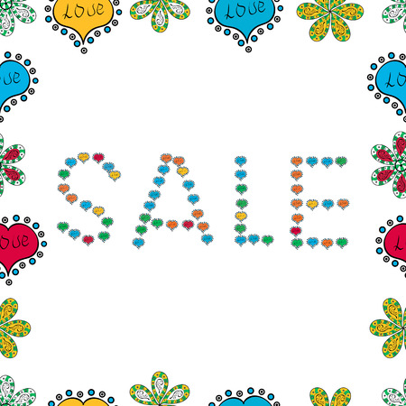 Sale banner template. Vector illustration. Lettering. Lettering in black, blue and white colors. Seamless.