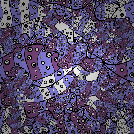 Doodles on black, violet and purple colors. Vector - stock. Seamless background pattern. Watercolor, hand drawn.
