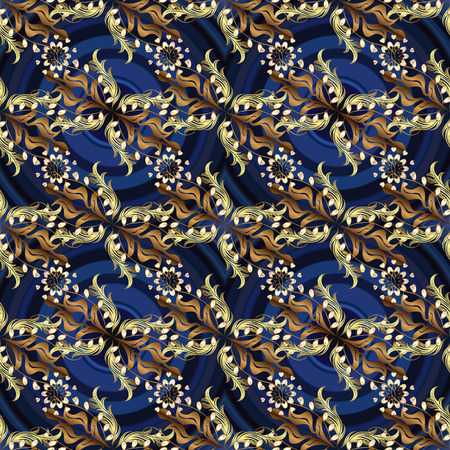 Seamless classic vector golden pattern. Golden pattern on blue, gray and brown colors with golden elements. Traditional orient ornament. Classic vintage background.