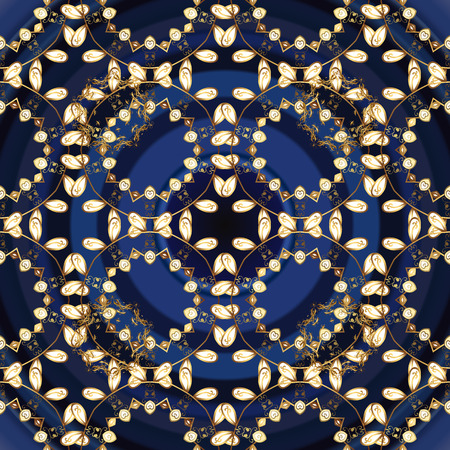 Damask seamless repeating pattern. Golden element on blue, gray and brown colors. Gold floral ornament in baroque style. Antique golden repeatable sketch. Illustration