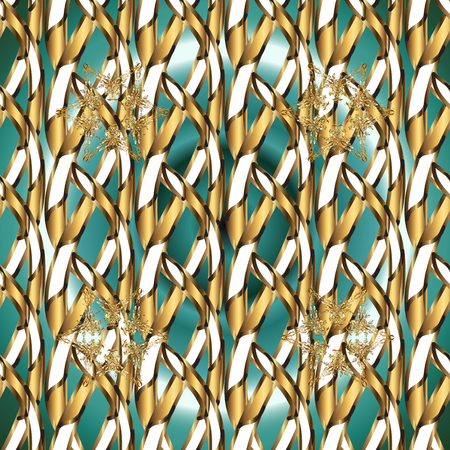 Gold metal with floral pattern. Brown, white and beige colors with golden elements. Vector golden floral ornament brocade textile and glass pattern. Seamless golden pattern.