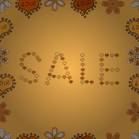 Picture in yellow, black and orange colors. Vector illustration. Good for social media, email, print, ads design and promotional material. Seamless pattern. For sale web banners, posters.