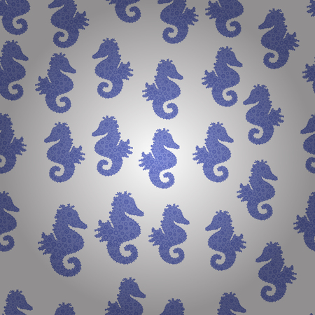 Perfect Feminine Pattern for Card. Hand-drawn illustration. Repeated texture with cartoon characters. Illustration on white, blue and violet colors. Vector. Seamless with underwater animals: seahorse.