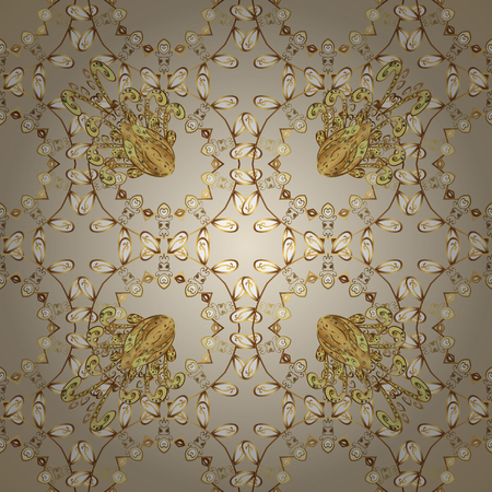 Golden element on neutral and beige colors. Damask seamless pattern repeating background. Golden floral ornament in baroque style. Antique golden repeatable sketch.