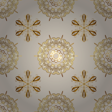 Seamless vintage pattern on neutral and beige colors with golden elements. Golden seamless pattern on neutral and beige colors with golden elements. Christmas, snowflake, new year.