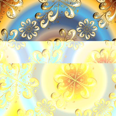 Vector illustration. Vintage seamless pattern on a blue and beige colors with golden elements.