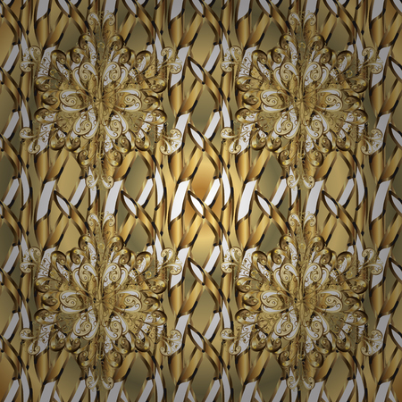 Ornate vector decoration. Vintage baroque floral in gold over brown and beige. Luxury, royal and Victorian concept. Golden element on brown and beige colors.