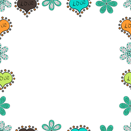 Square frames doodles. Seamless pattern. Illustration in blue, white and black colors. Vector illustration.