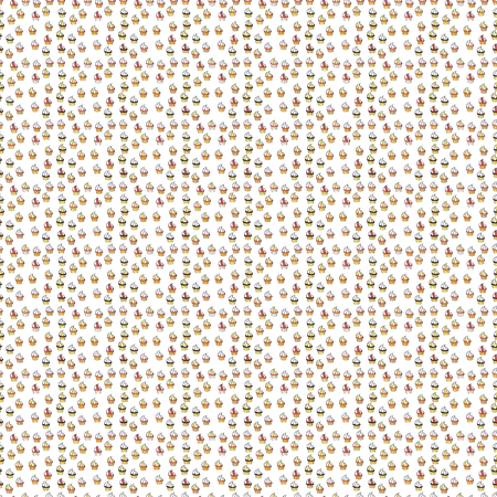 Nice birthday background on gray, white and yellow. Sweets background design. Seamless pattern with sweet Cupcakes pattern. Vector illustration.