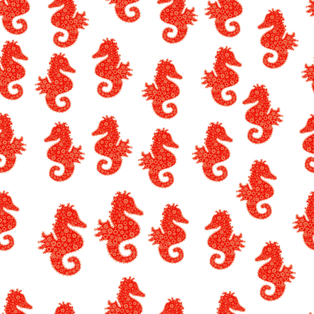 Hippocampus vector cartoon icon set of underwater fish and silhouette isolated on white, red and orange background. Seahorse seamless pattern background. Vector. Vettoriali