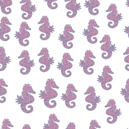 Vector. In simple style. Seahorse isolated on white, pink, blue background. Cute girly seamless pattern drawn by hand. Clip Art. Illustration. Watercolor. Suitable for fabric, paper, packaging.