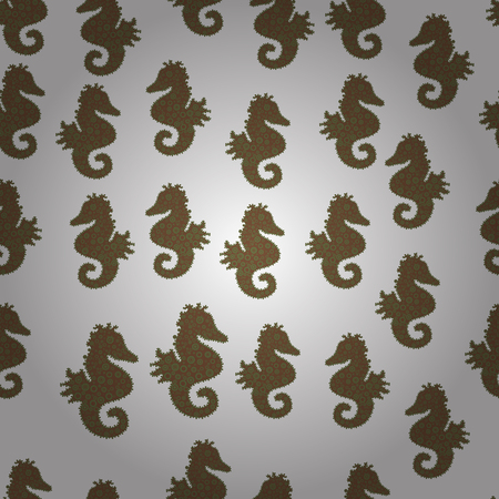 Vector. Seahorse isolated on white, brown, green background. Clip Art. Illustration. Watercolor. Picture. Endless. Suitable for packaging. Cute girly seamless drawn by hand. Sketch, doodle, scribble.
