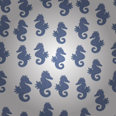 Vector illustration. Seahorse on white, blue and neutral background. Can be used for greeting cards, wedding invitations, logo, printing on fabric. Tigertail Seahorse cutout. Seamless.  イラスト・ベクター素材