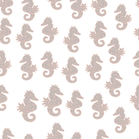 Hippocampus vector cartoon icon set of underwater fish and silhouette isolated on white, gray and neutral background. Seahorse seamless pattern background. Vector. Illustration