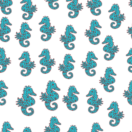 Cute girly seamless drawn by hand. Endless. Watercolor. Seahorse isolated on white, blue and red background. Vector. Suitable for fabric, paper, packaging. In simple style. Sketch, doodle, scribble.