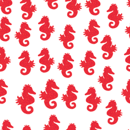 Doodle, sketch, scribble. Hippocampus vector cartoon icon set of underwater fish and silhouette isolated on white, red and orange background. Seahorse seamless background. Vector. Stock Illustratie