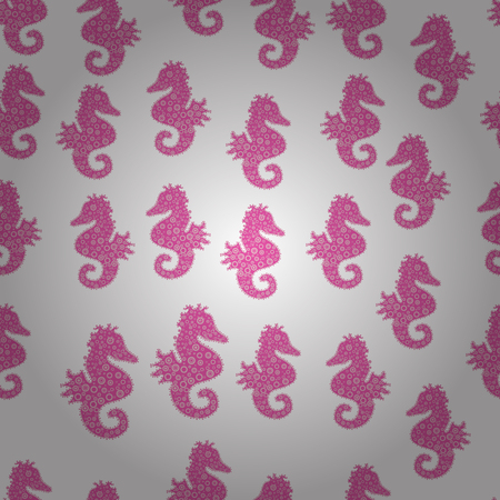 Vector illustration. Abstract seamless pattern for wallpaper, clothes, boys, girls. Sea Horse. Pictures in white, pink and neutral colors. In vintage style.