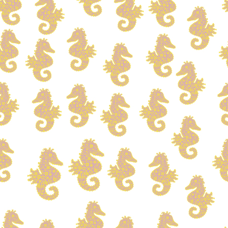 Vector. Seahorse seamless pattern background. Hippocampus vector cartoon icon set of underwater fish and silhouette isolated on white, neutral and yellow background.