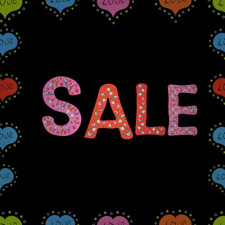 Picture in black, pink and blue colors. Vector illustration. Seamless pattern. Lettering. Special Sale Banner or Sale Poster Design. Illustration