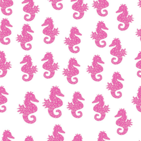 Sea Horse. Abstract seamless pattern for sketch, clothes, boys, girls. In vintage style. Vector illustration. Pictures in white, pink and neutral colors.  イラスト・ベクター素材