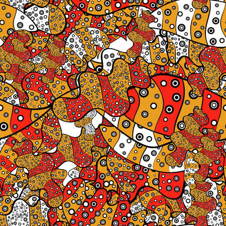 Doodles red, yellow and black on colors. Seamless Elegant vector texture with floral elements.