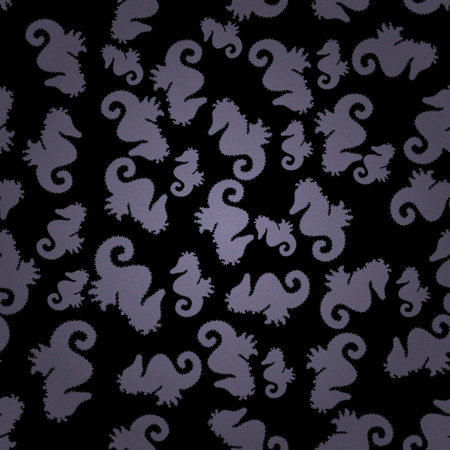Seahorse seamless background. Doodle, sketch, scribble. Hippocampus vector cartoon icon set of underwater fish and silhouette isolated on gray, black and neutral background. Vector.