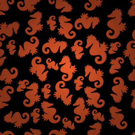 Vector illustration. In vintage style. Pictures in orange, black and brown colors. Sea Horse. Abstract seamless pattern for wallpaper, clothes, boys, girls. Illustration