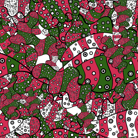 Vector illustration. Design wrapping and gift paper, greeting cards, banner and posters design. Watercolor, hand drawn. Doodles on black, pink and green colors. - stock. Seamless pattern background.