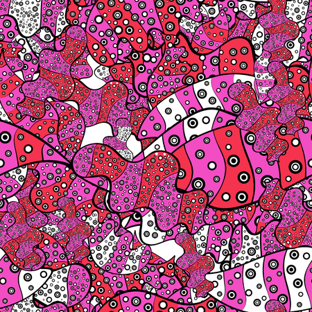 Abstract doodles pattern. Vector illustration. - stock. Seamless Cute fabric pattern. Pink, black and white on colors. Nice background.
